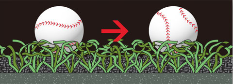 ボールの動きが安定する